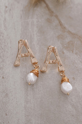 Initial bamboo earrings
