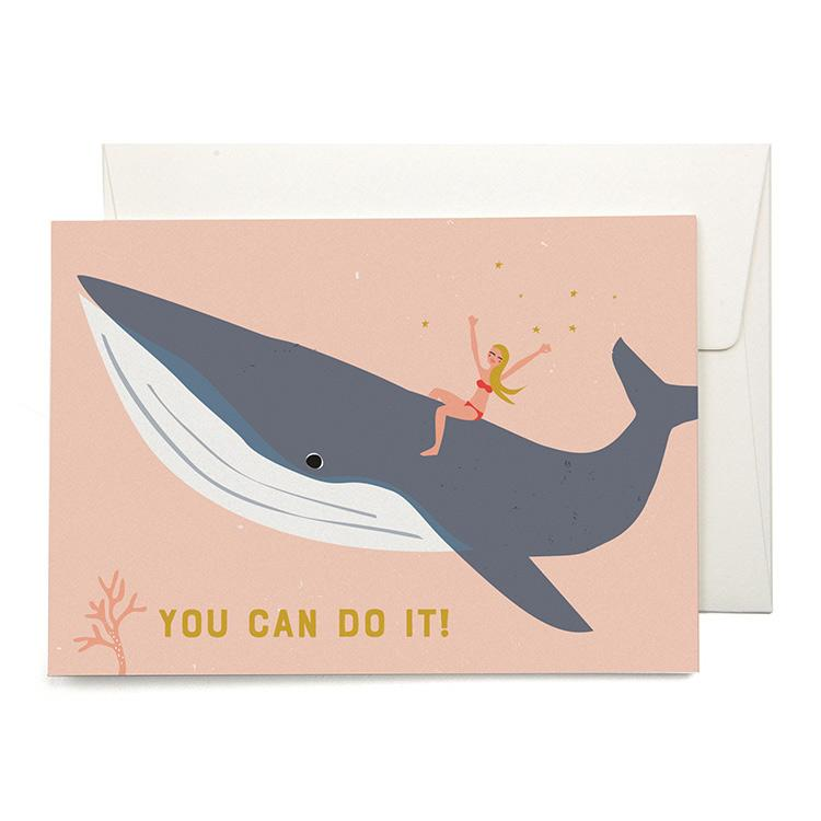 Riding with Whales Greeting Card