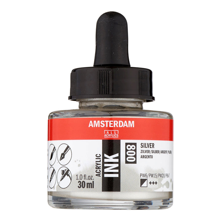 Acrylic Ink Bottle Silver 30ml