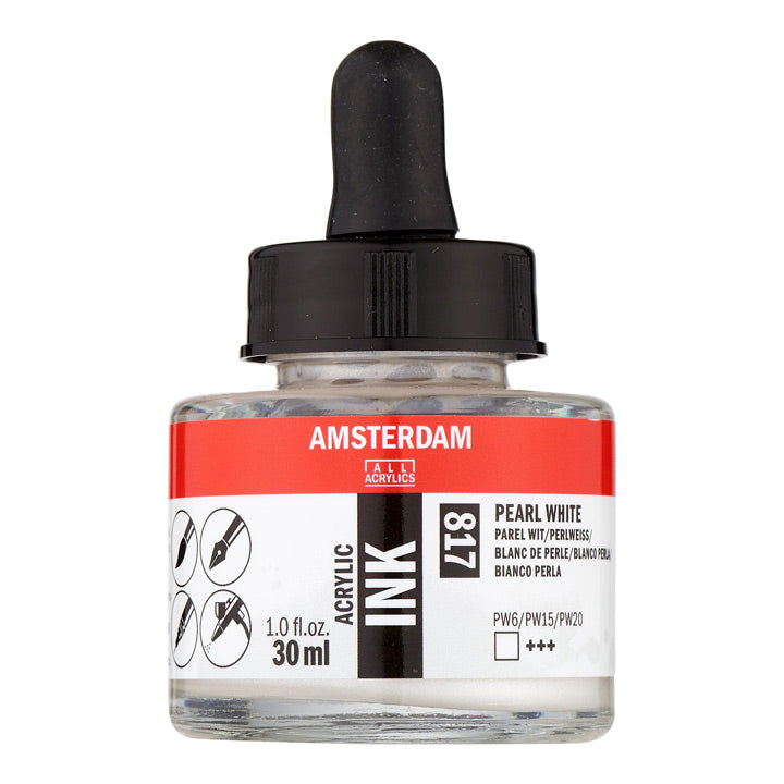 Acrylic Ink Bottle Pearl White 30ml