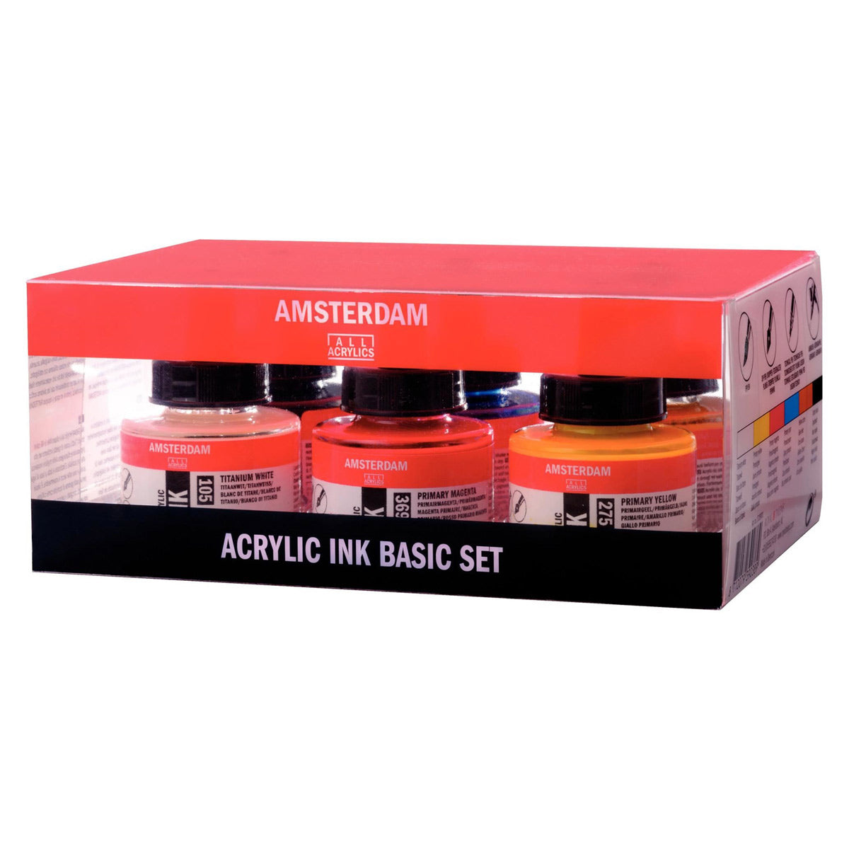 Acrylic Ink Basic Colours Set - 6 x 30 ml