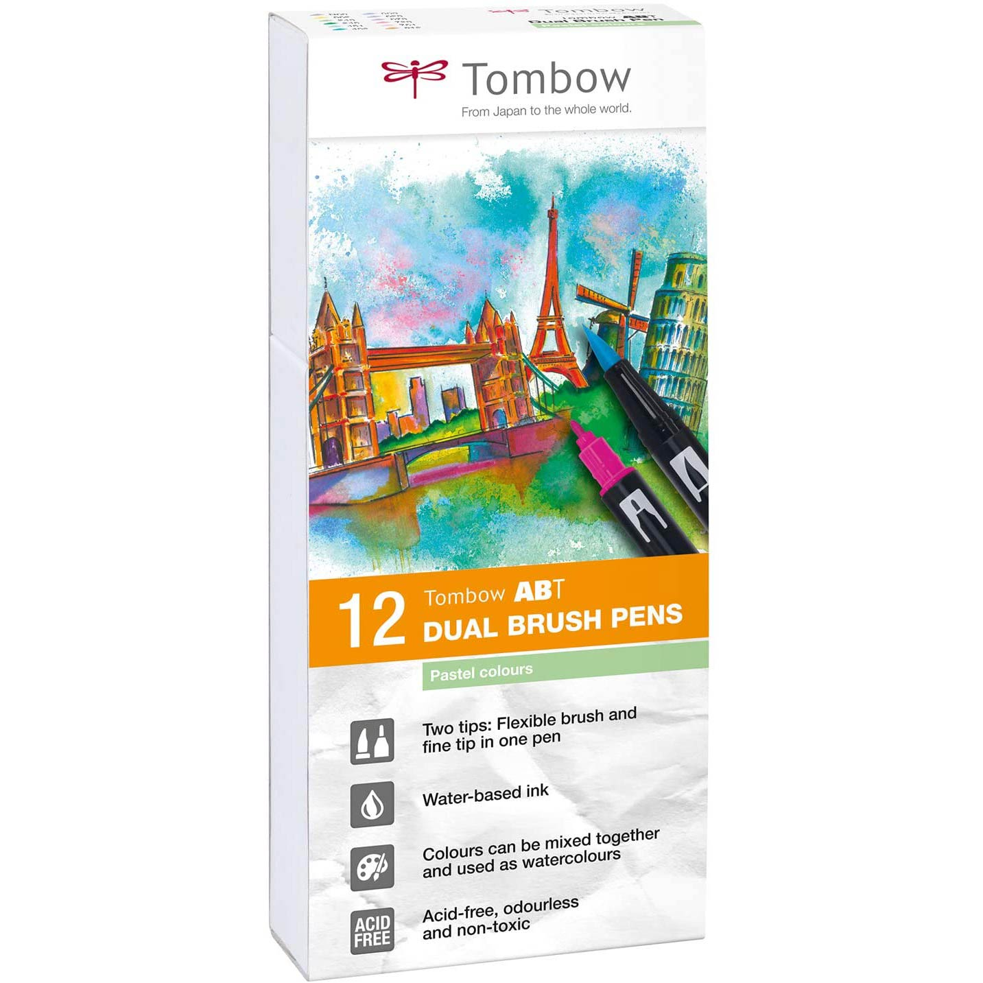 Tombow ABT Pastel Colours Brush Pens - Set of 12