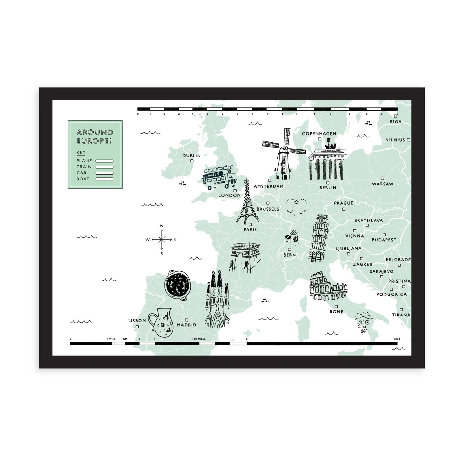 Europe map in light green, with illustrated landmarks