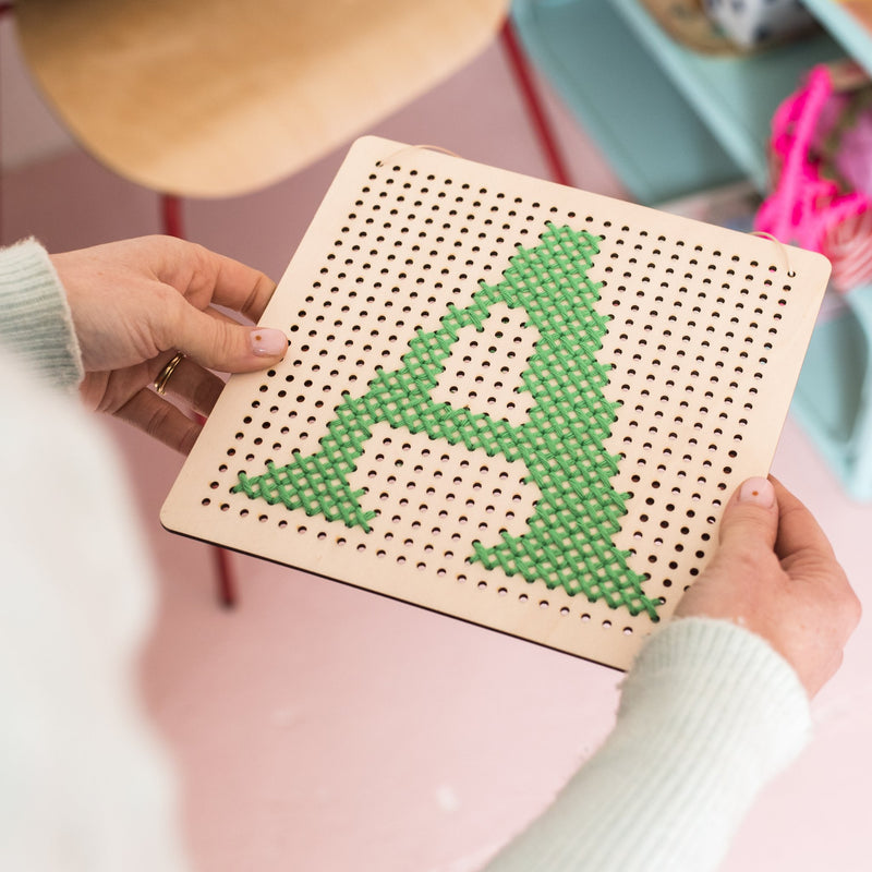 Cross Stitch Pegboard Green Thread