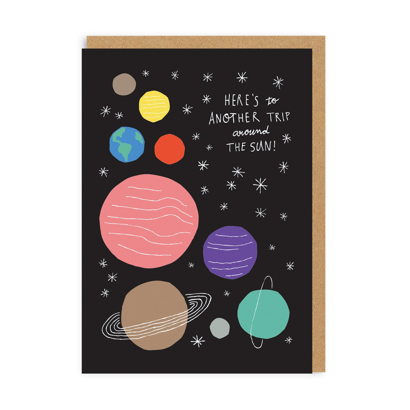 Birthday card with black background and illustrated planets, with white stars and white text quote