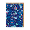 Happy Birthday Blue Flowers Greeting Card