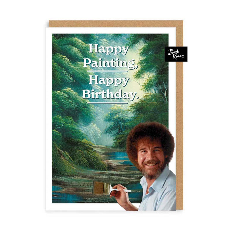 Green Forest Happy Painting Birthday Greeting Card