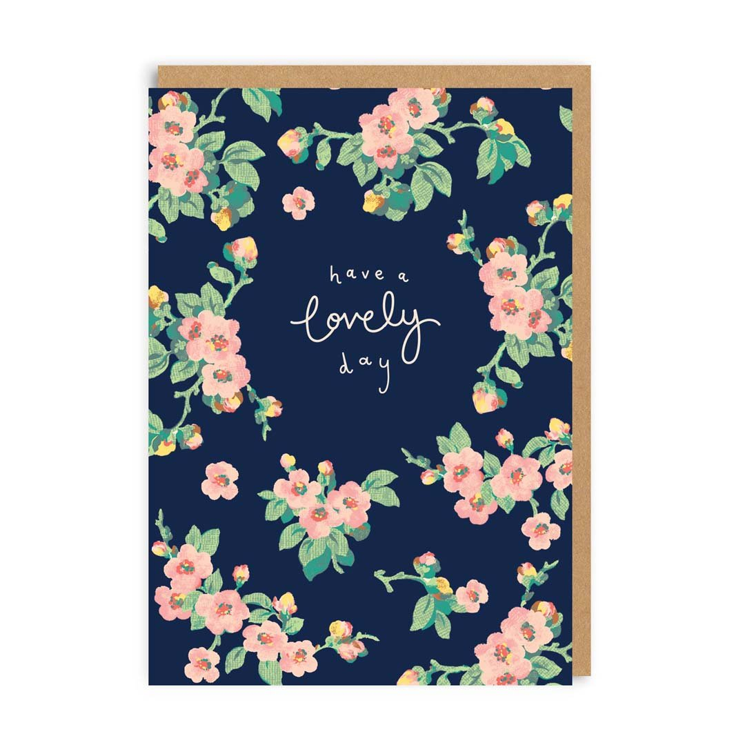 Have A Lovely Day Navy Floral Greeting Card