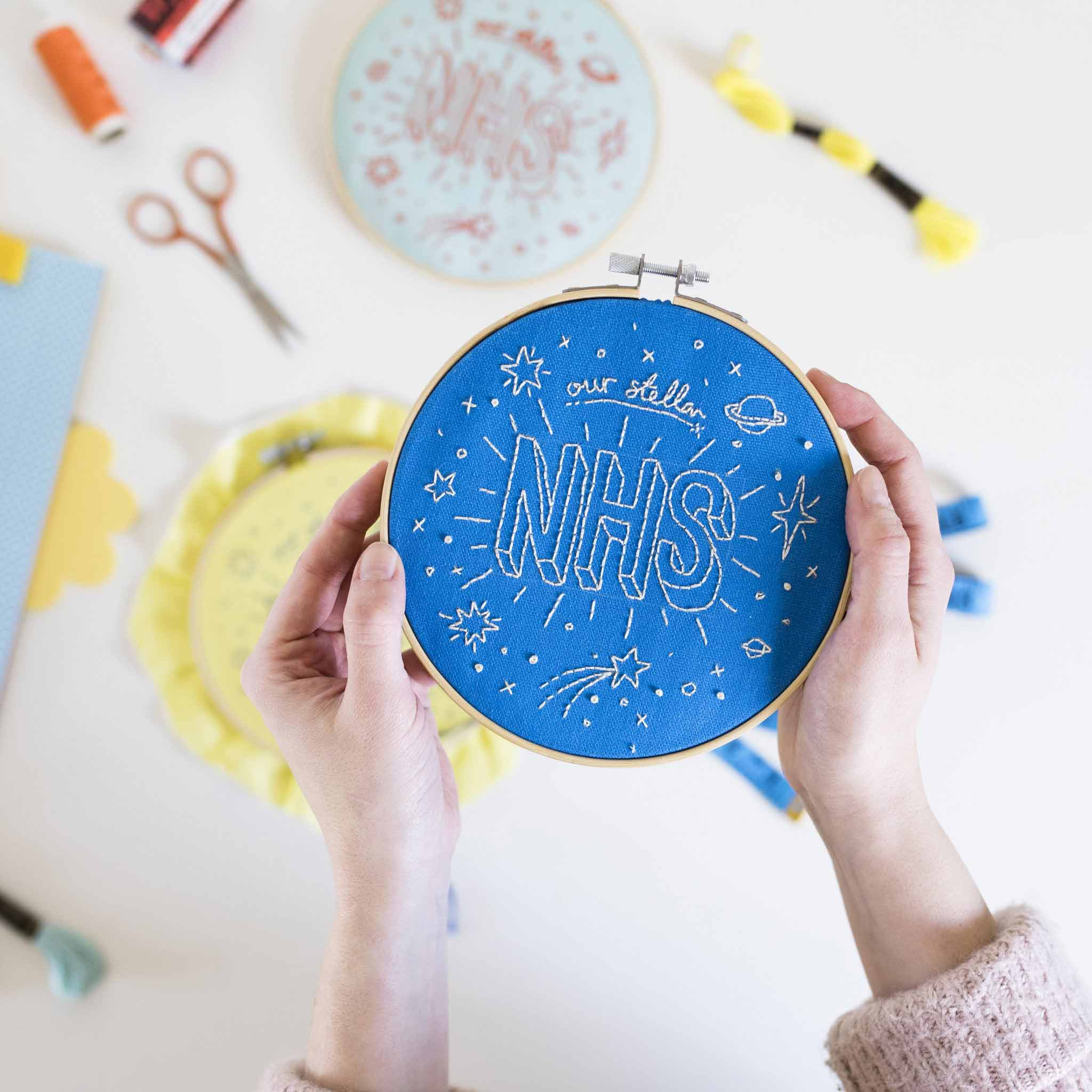 Our Stellar NHS Blue Embroidery Hoop Kit