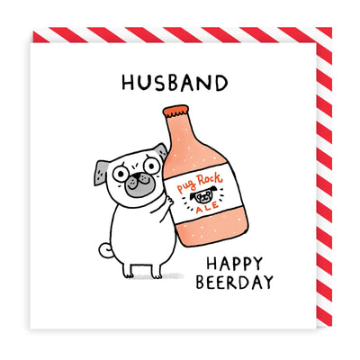 Husband Happy Beerday Square Greeting Card
