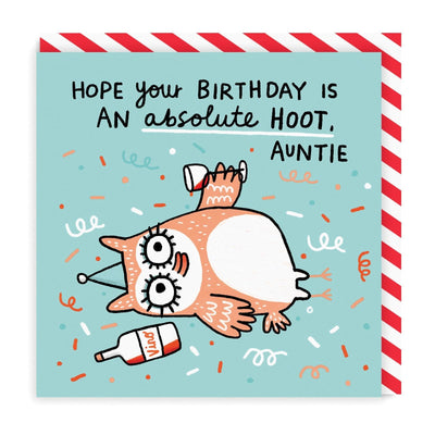 Auntie Birthday Hoot Square Greeting Card