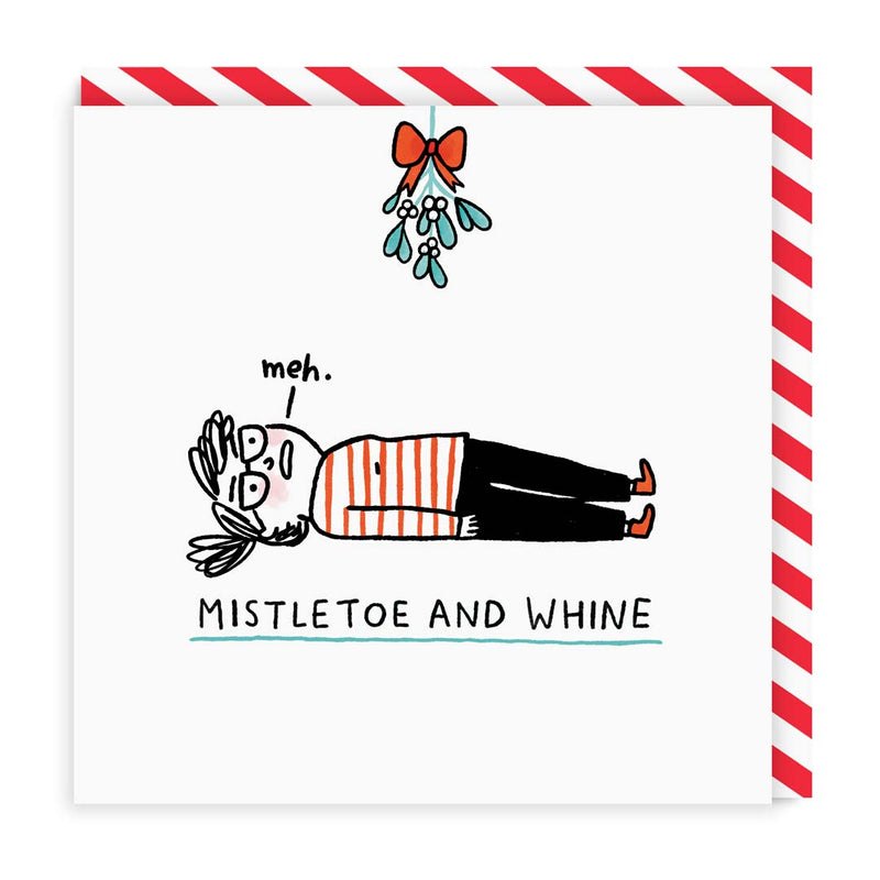 Mistletoe and Whine Christmas Card