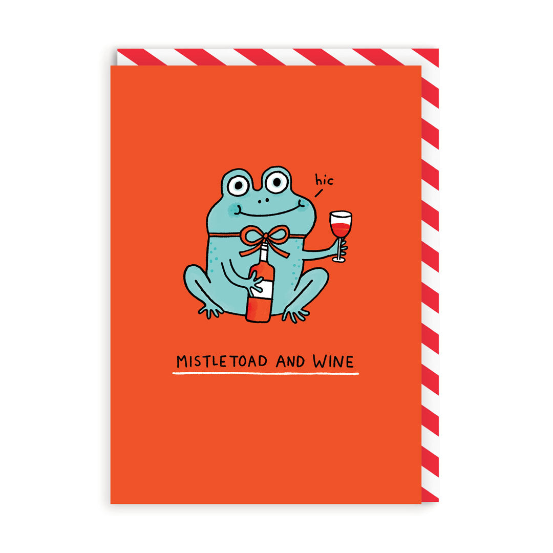 Mistletoad and Wine Christmas Card