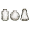 Clear Glass Bud Vases - Set of 3