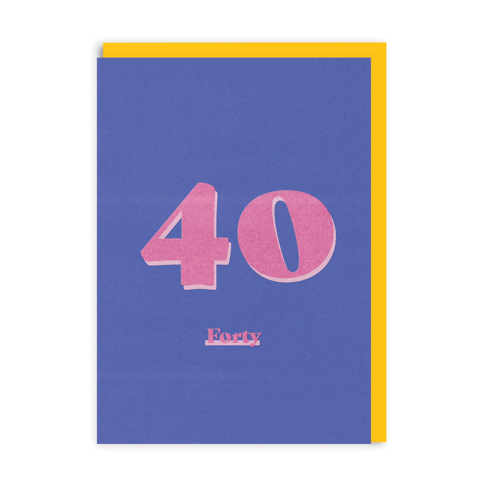 Purple greetings card with pink 40 and forty text, with yellow envelope behind