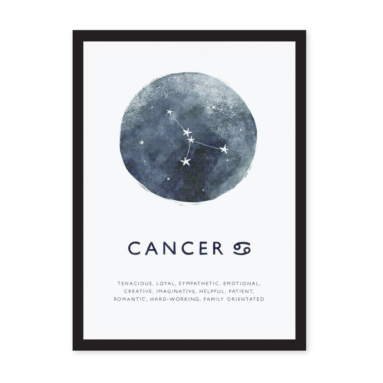 Zodiac Cancer star sign in blue watercolour background, with personality characteristics listed below