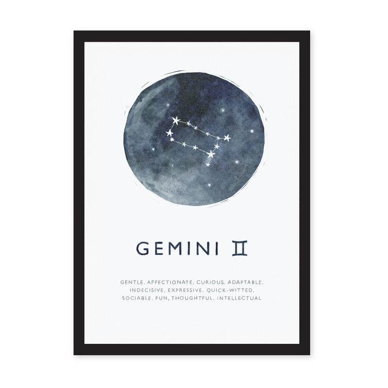 Gemini star sign on blue watercolour circle with Gemini characteristics listed