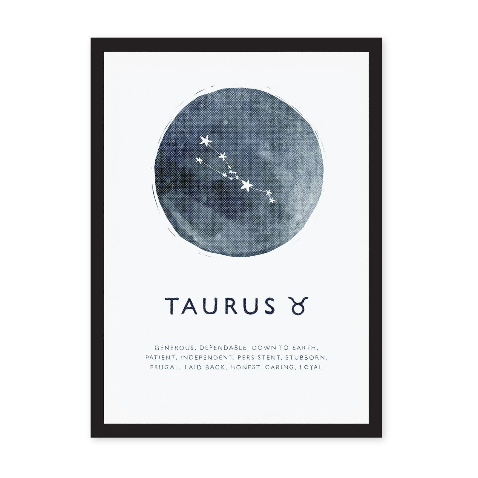 Taurus star sign in blue circle watercolour, on white A4 art print