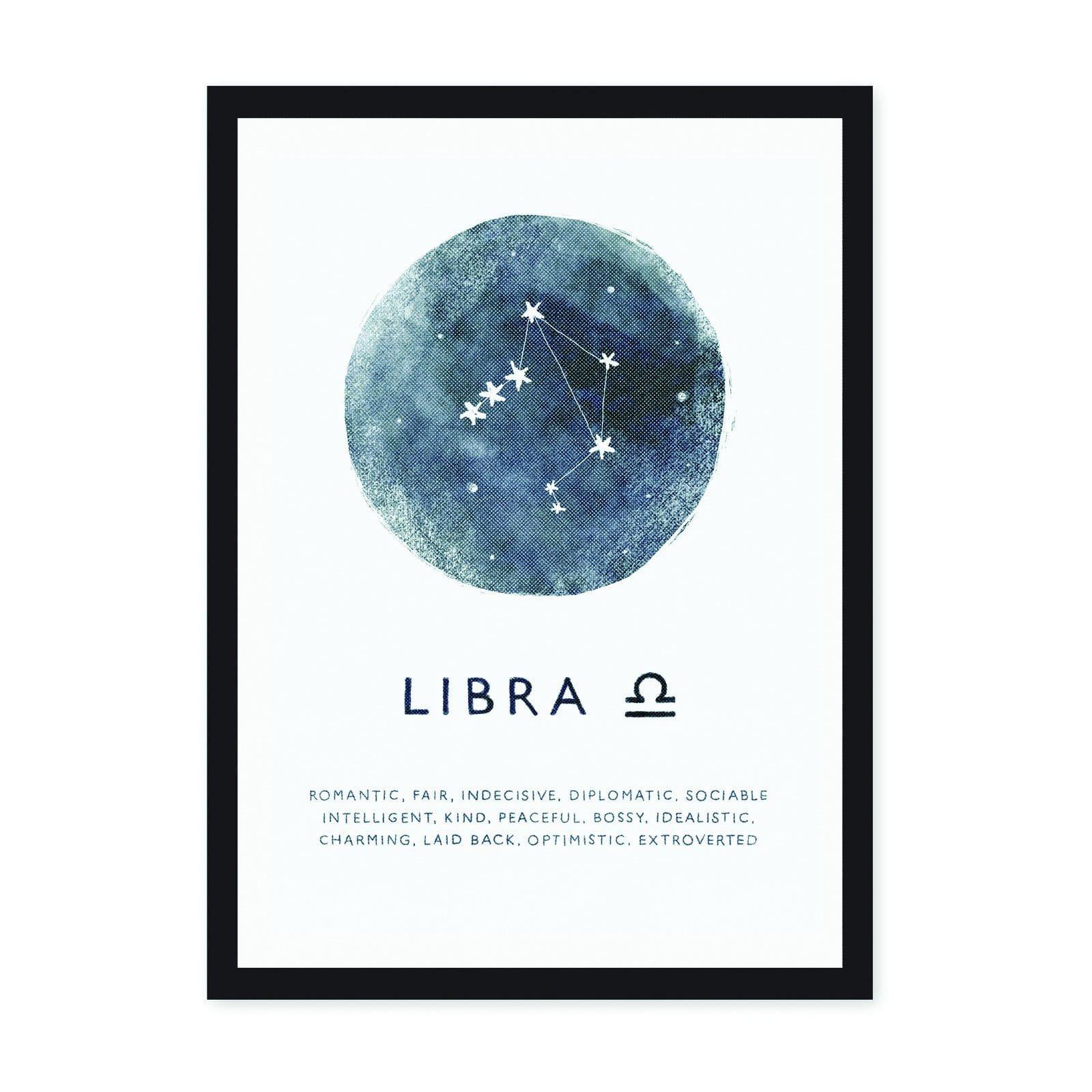 White art print with Libra star sign on blue circle background, with zodiac characteristics