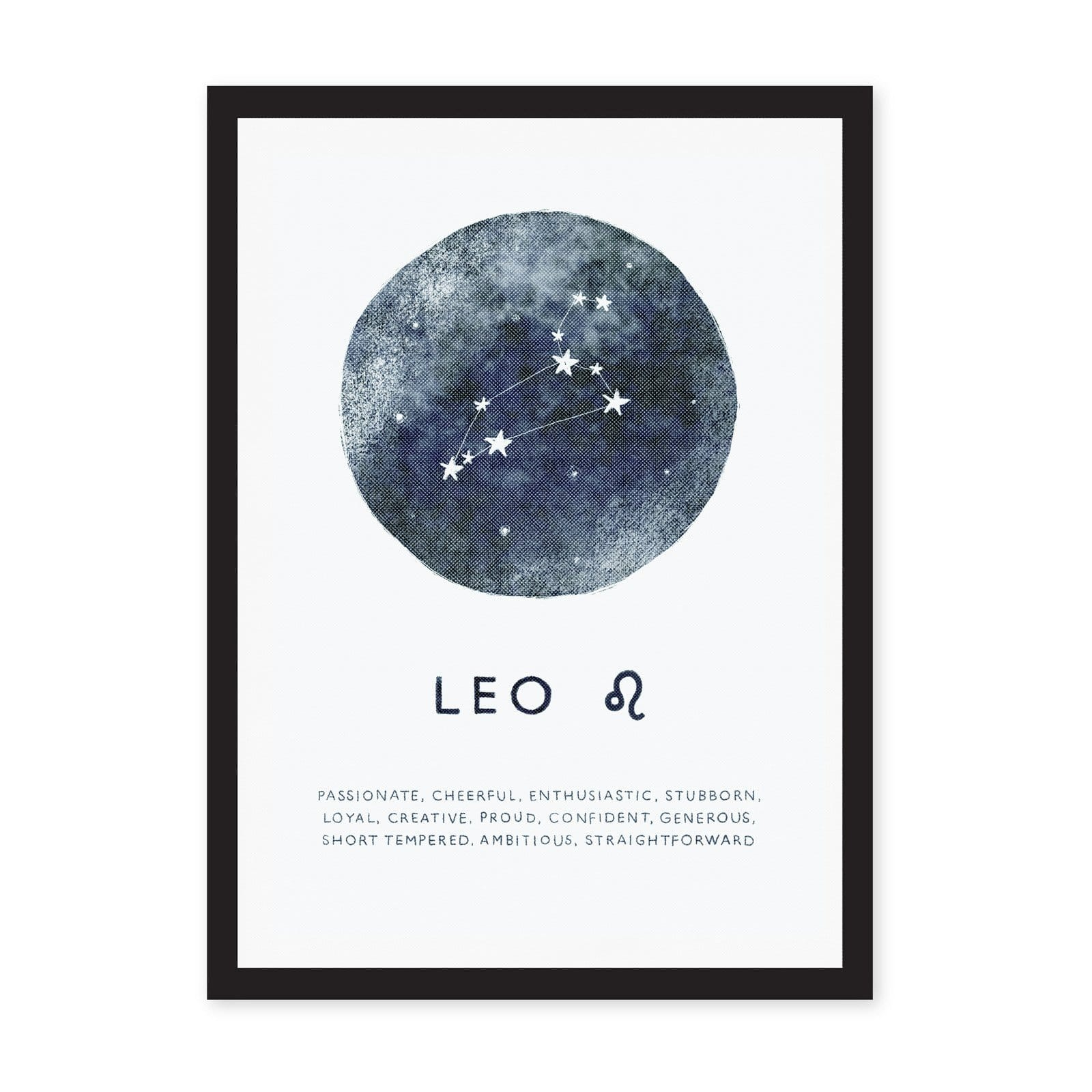 White A4 art print with blue circle and Leo star sign in centre, with words in black writing at bottom