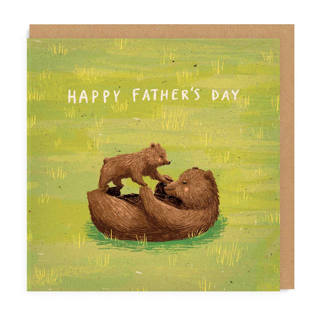 Happy Father's Day Bears Square Greeting Card