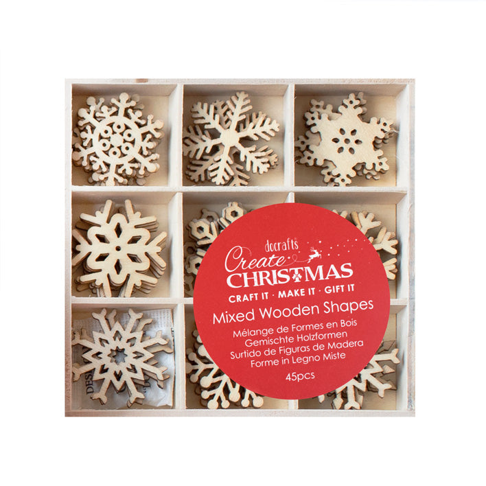 Snowflakes Small Wooden Shapes 45pcs