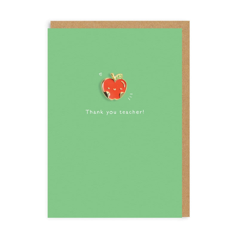 Teacher Apple Enamel Pin Greeting Card
