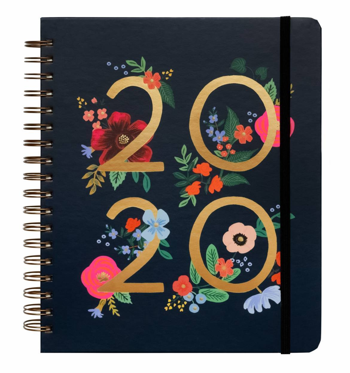Spiral bound notebook with navy background and 2020 gold foil title and colourful flowers