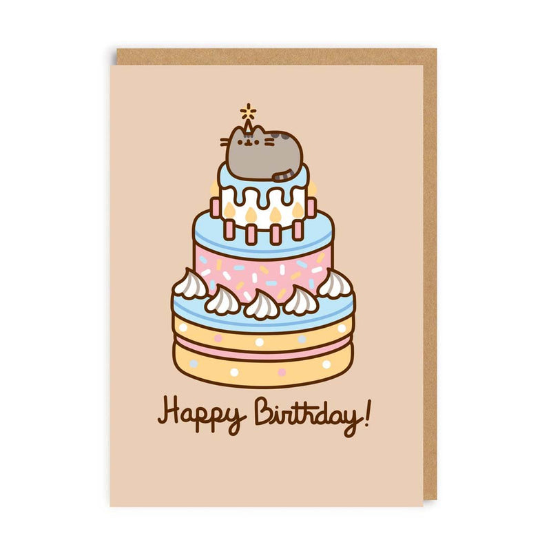 Pusheen Happy Birthday Cake Greeting Card