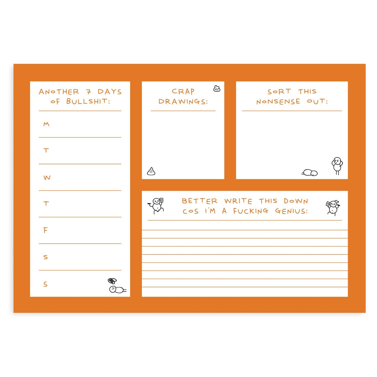 Illustrated deskpad with orange borders and white sections to write on, with drawn stick men