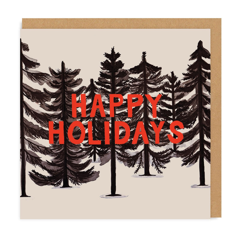 Inky Forest Happy Holidays Square Christmas Card