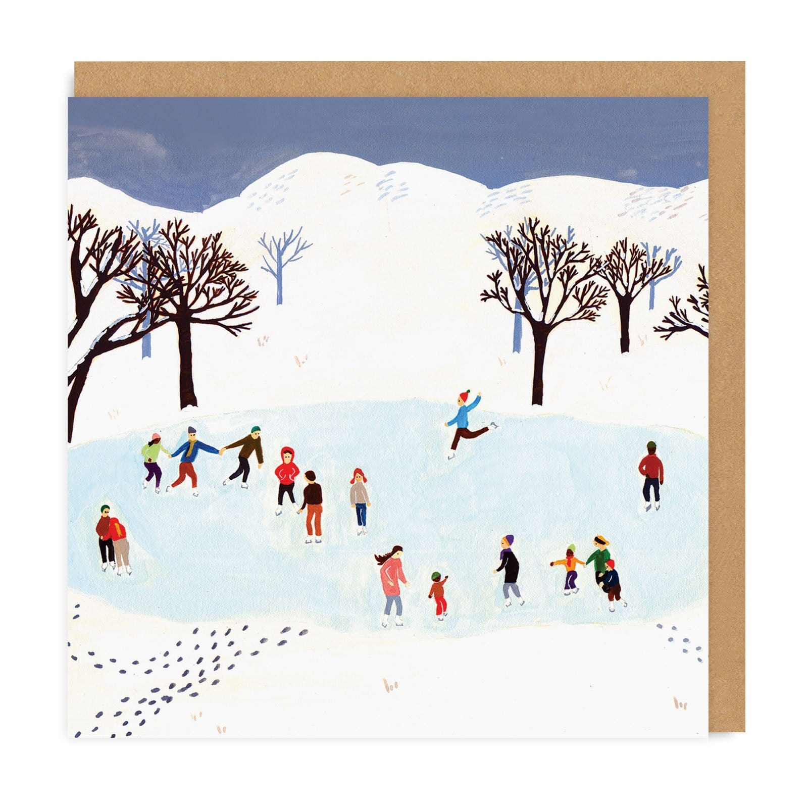 Ice Skating Square Christmas Greeting Card