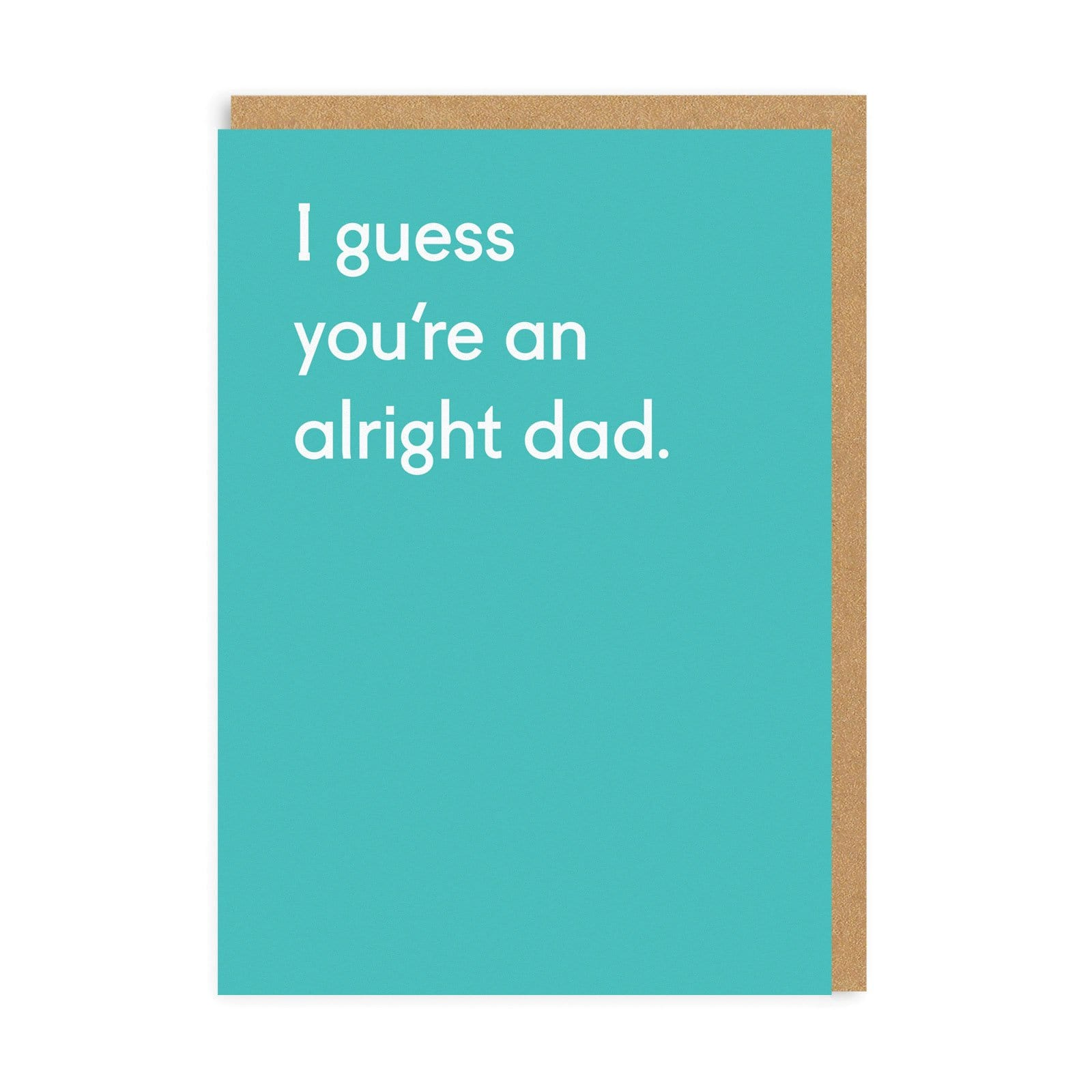 Blue greetings card with dad quote in white, with brown envelope in background
