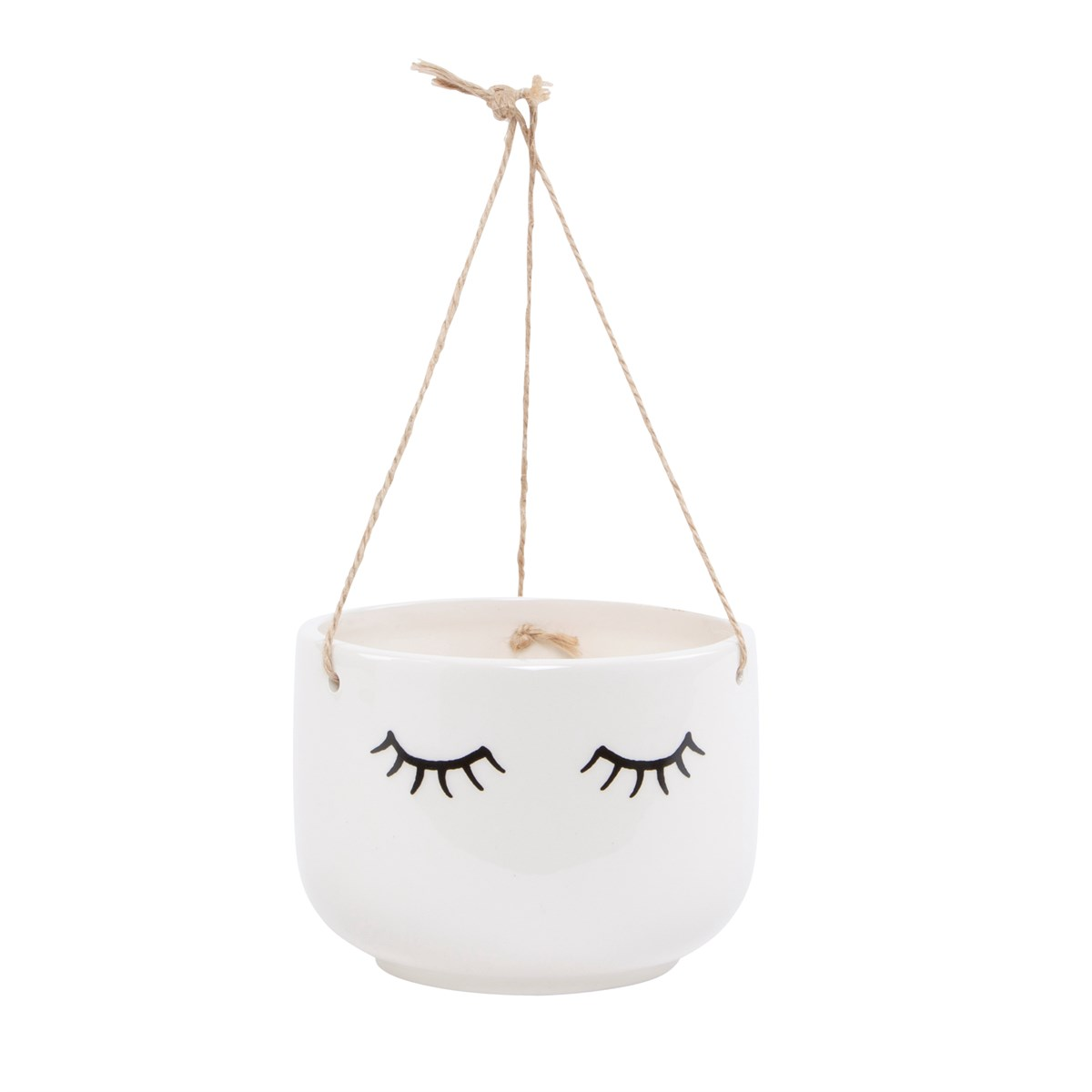 Eyes Shut White Hanging Planter