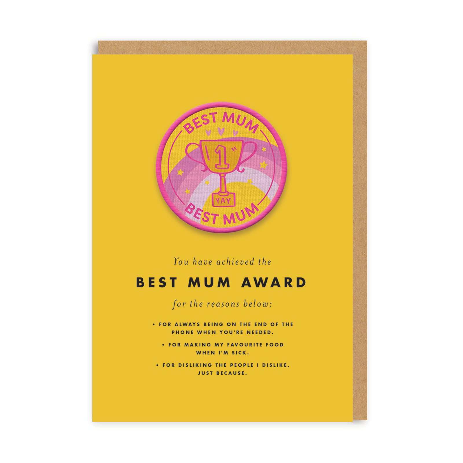 Best Mum Woven Patch Greeting Card