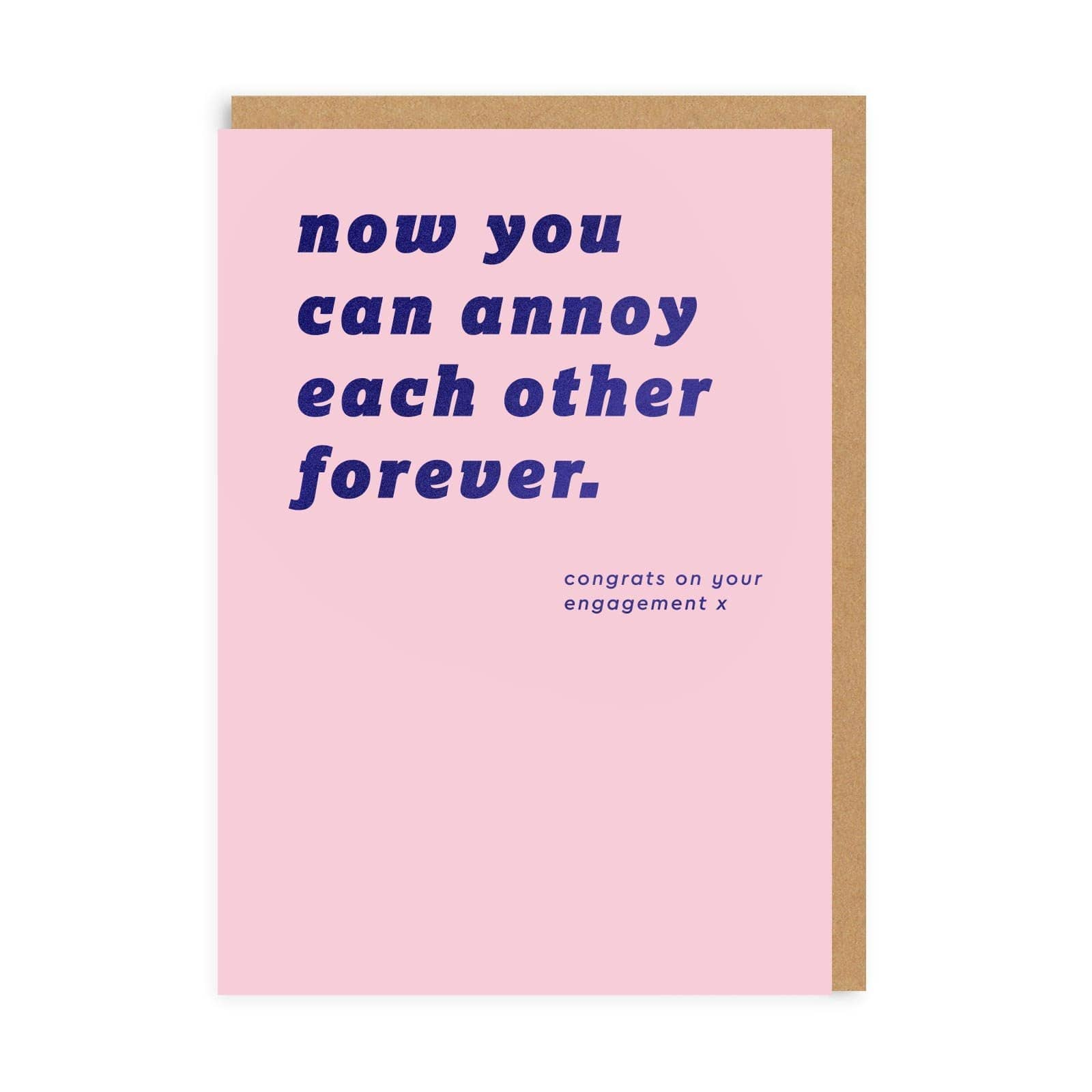 Pink engagement card with navy blue font and quote