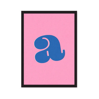 Pink art print with blue lowercase letter a in typography font