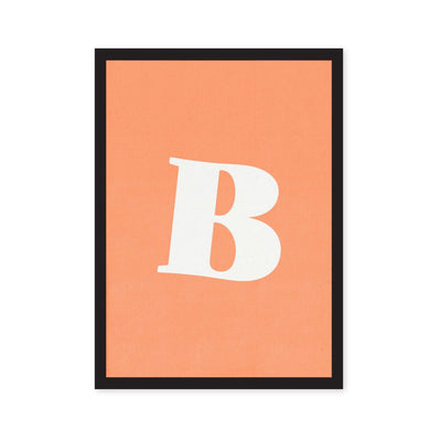 Peach orange art print with letter B in typography white font