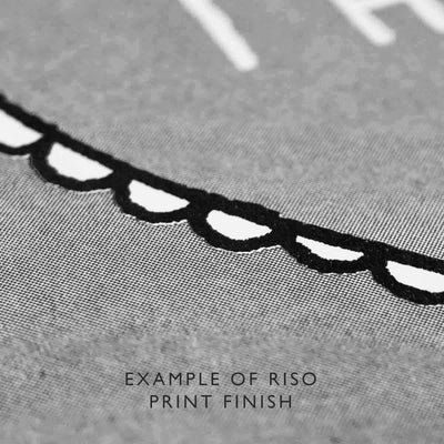 Close up grey art print with black and white detailing