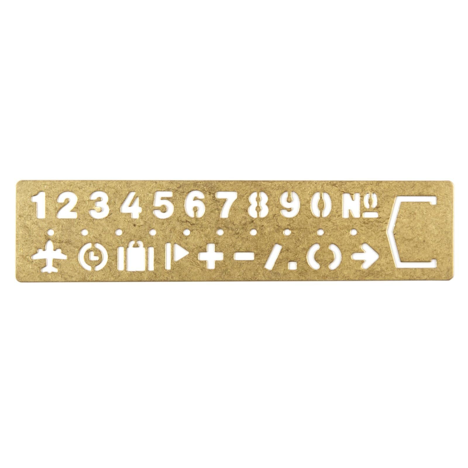Brass Stencil Bookmark - Numbers