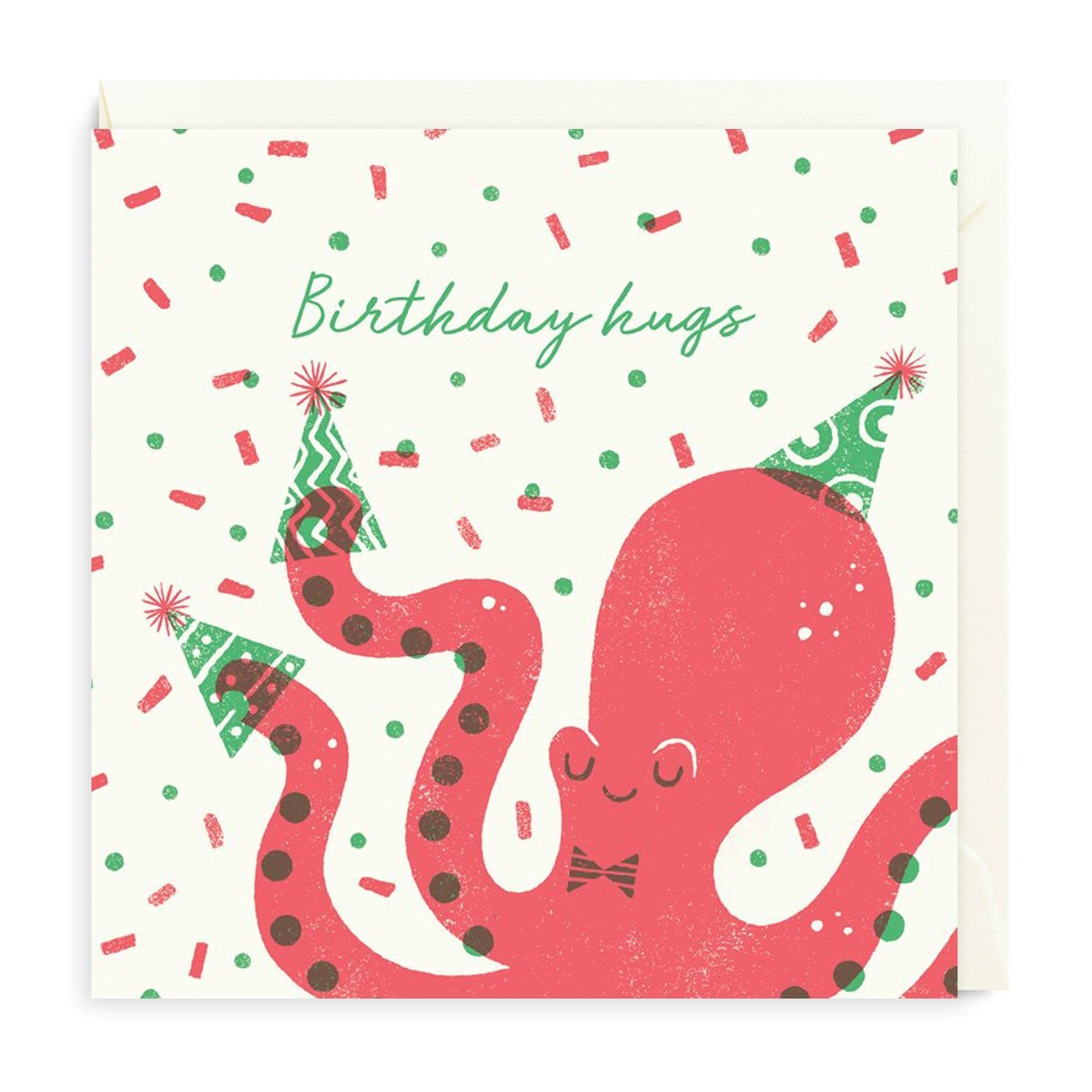 Birthday Hugs Octopus Square Greeting Card