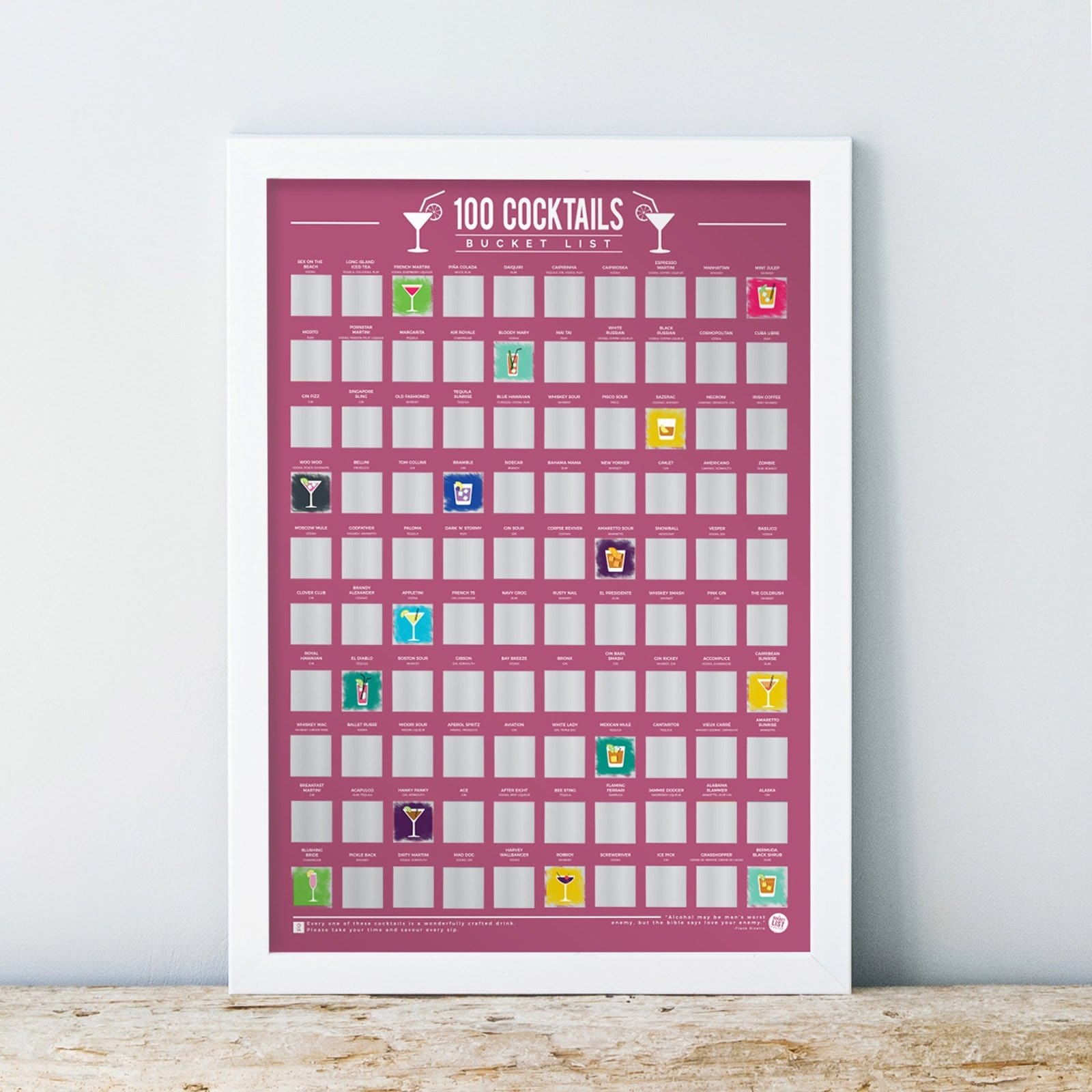 100 Cocktails Scratch Off Bucket List Poster