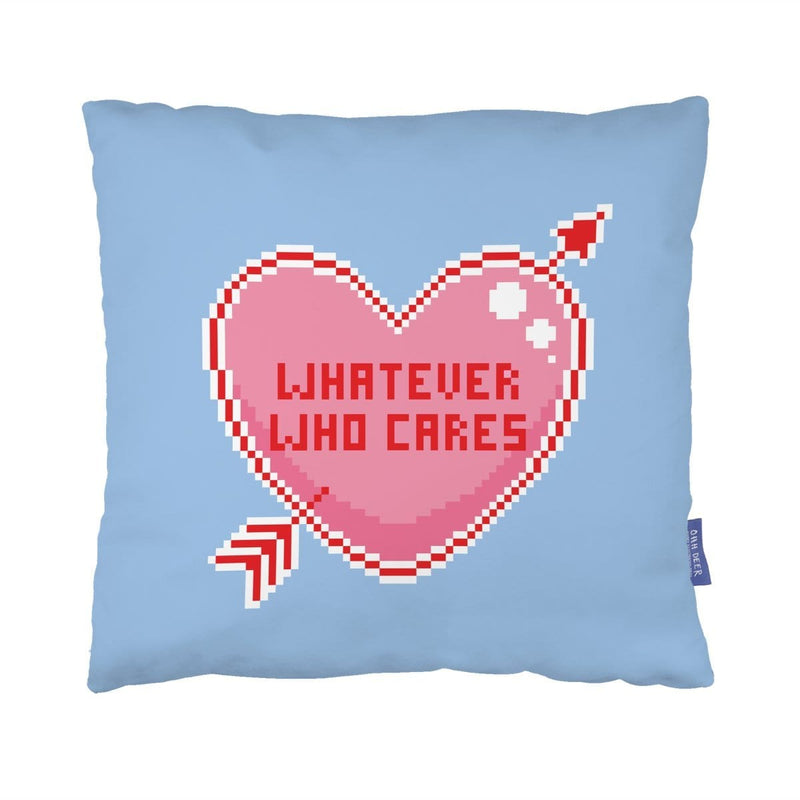 Whatever Who Cares Pixel Heart Cushion