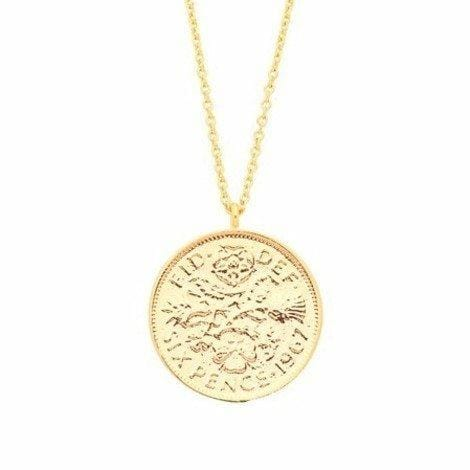 Gold Plated Lucky 6 Pence Necklace