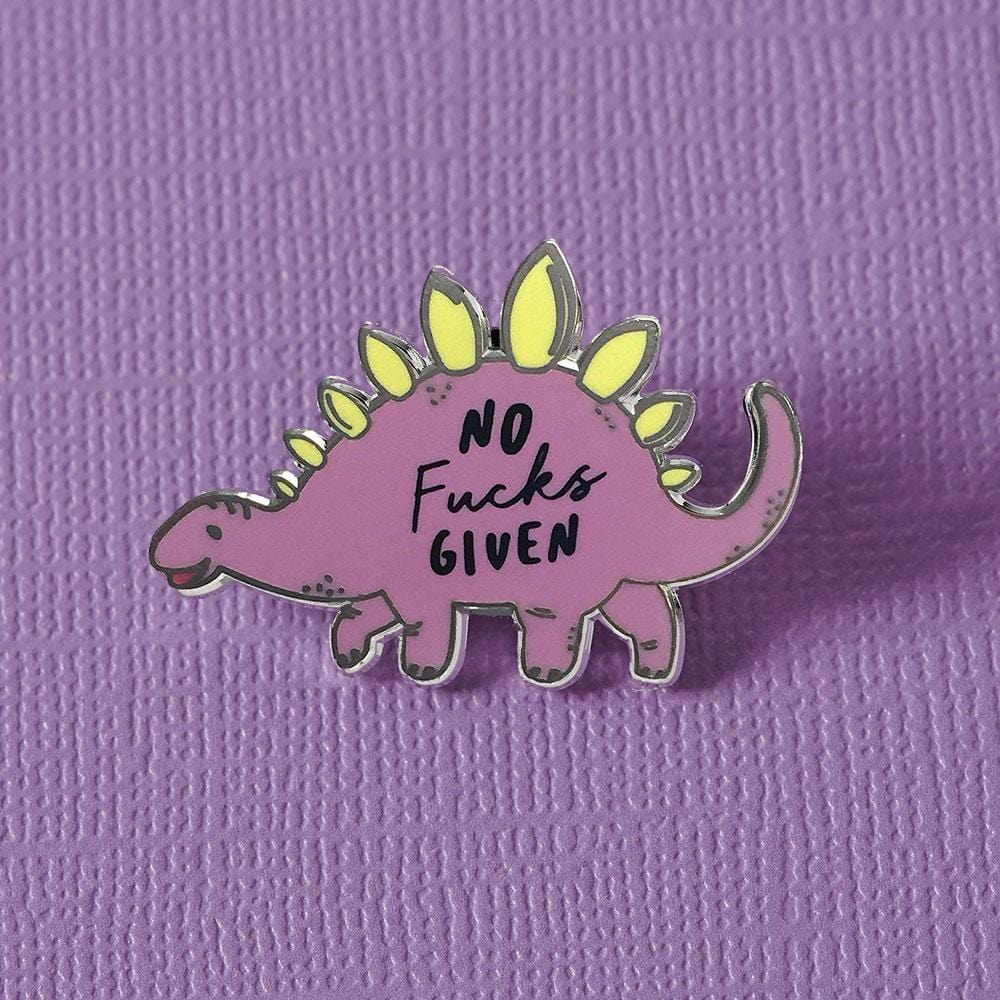 No Fucks Given Dinosaur Enamel Pin