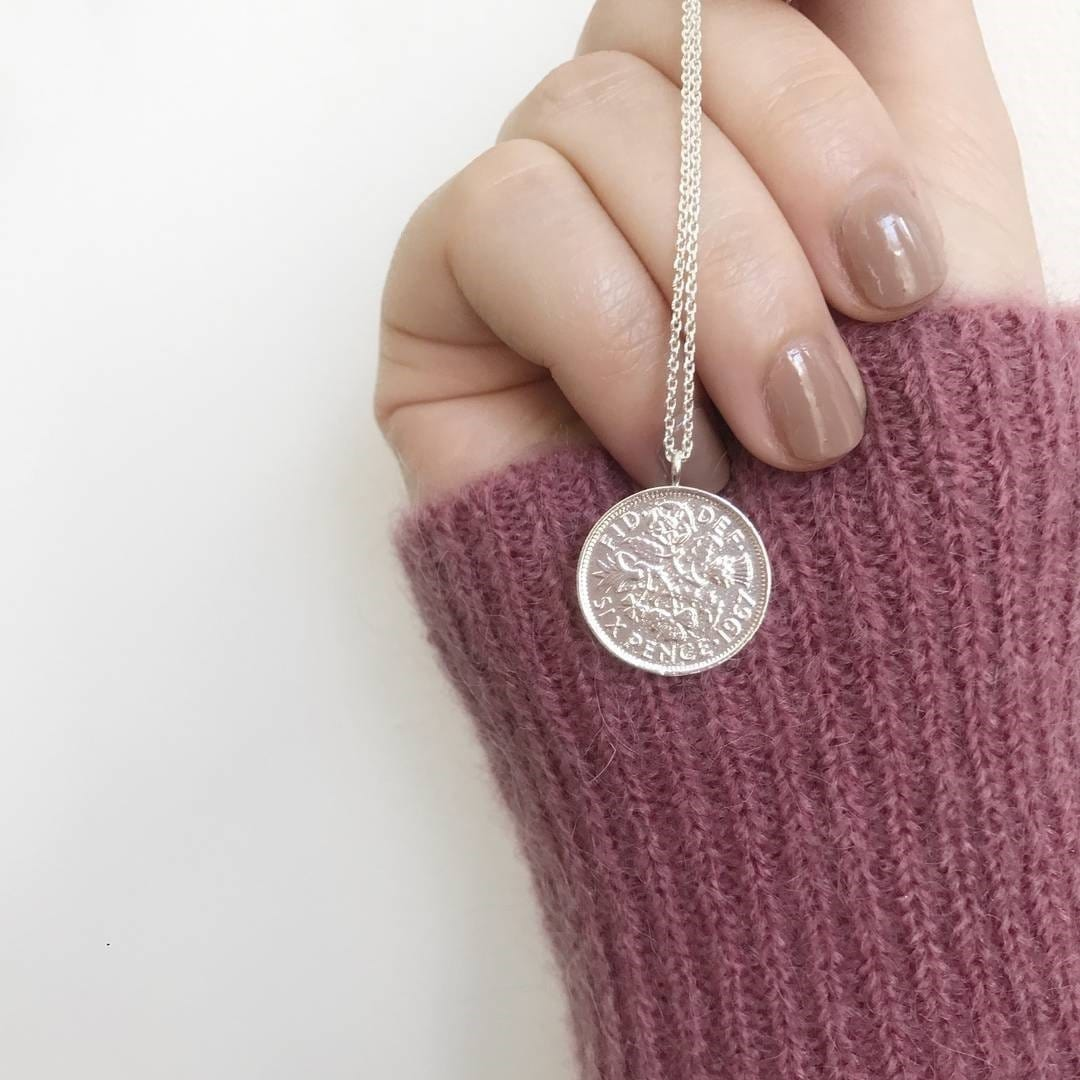 Silver Plated Lucky 6 Pence Necklace