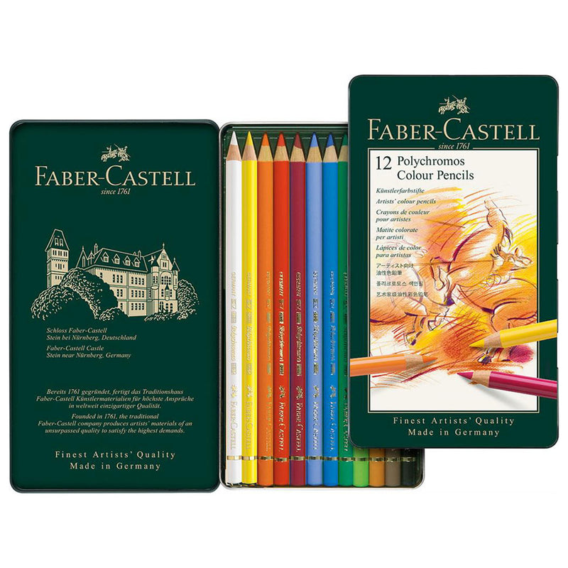 Faber-Castell Tin of 12 Polychromos Artists' Pencils