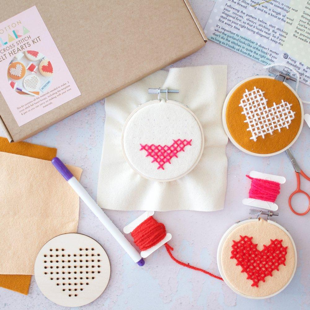3x Heart Hoop Cross Stitch