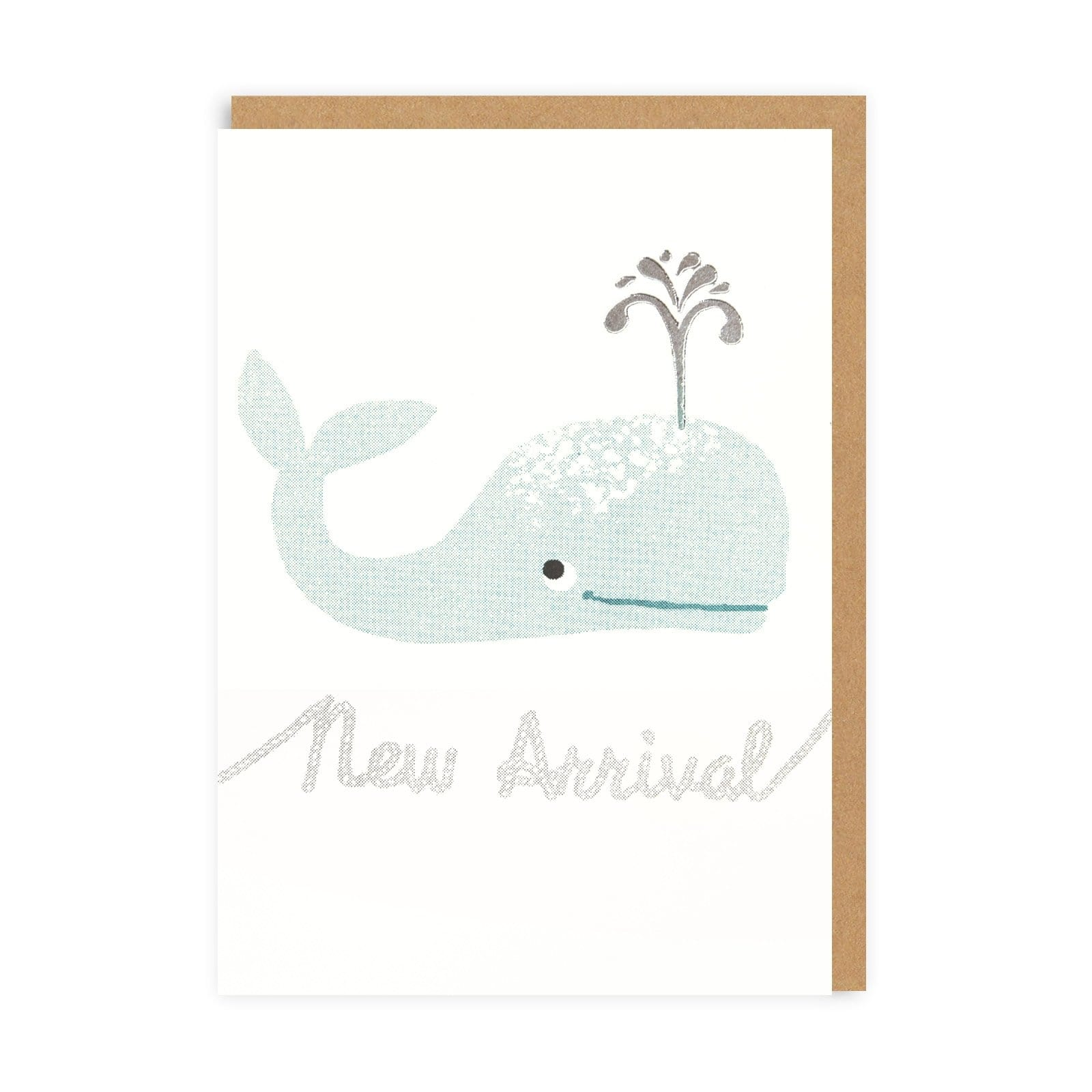 Teal Whale Riso Baby Greeting Card