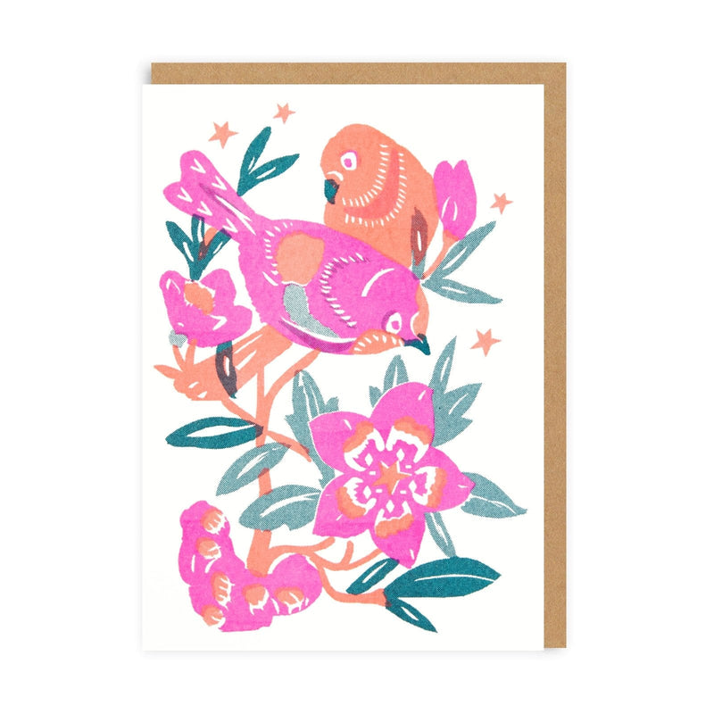 Love Birds Riso Greeting Card